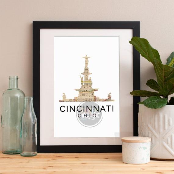 Cincinnati Print, Cincinnati Skyline, Cincinnati Art, Cincinnati Poster, Cincinnati Watercolor, Cincinnati Art Print, Cincinnati Map, Ohio