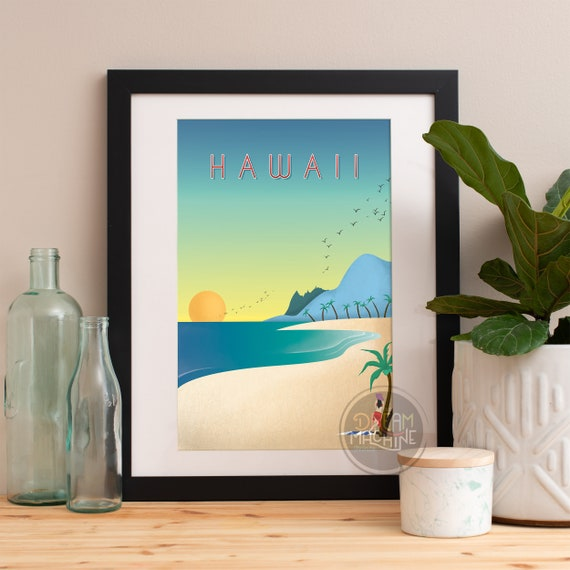 Hawaii Print, Hawaii Skyline, Hawaii Art, Hawaii Poster, Hawaii Watercolor, Hawaii Art, Hawaii Map, Hawaii Wall Art, Hawaii Art