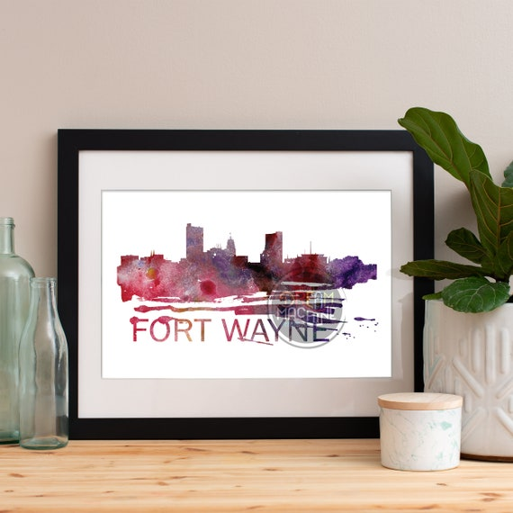Fort Wayne Watercolor Skyline, Fort Wayne Skyline, Fort Wayne Art, Fort Wayne Poster, Fort Wayne Print, Fort Wayne Art, Fort Wayne Map