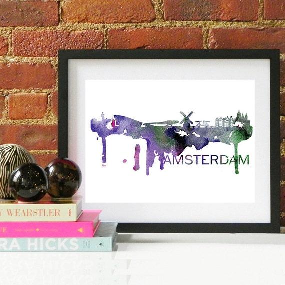 Amsterdam Watercolor Skyline, Amsterdam Skyline, Amsterdam Art, Amsterdam Poster, Amsterdam Print, Amsterdam Art, Amsterdam Map, Amsterdam