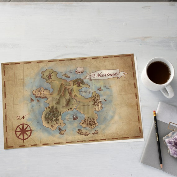 Neverland Map, Peter Pan, Baby Shower, Nursery Decor, Mothers Day Gift, Nursery, Disney Nursery, Birthday Gift, Boy Nursery