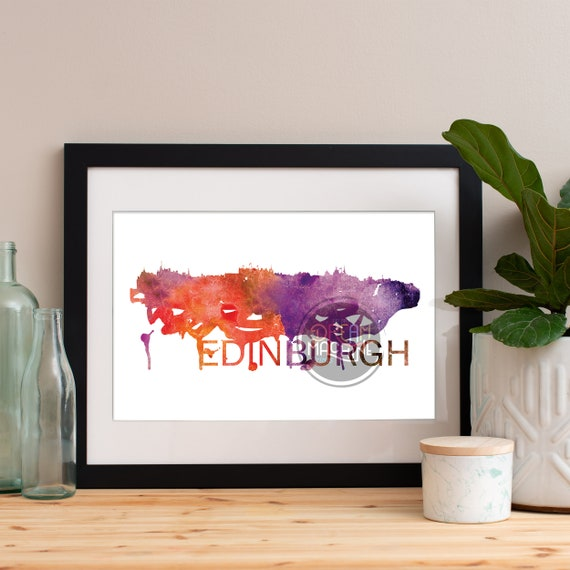 Edinburgh Watercolor Skyline, Edinburgh Skyline, Edinburgh Art, Edinburgh Poster, Edinburgh Print, Edinburgh Art, Edinburgh Map, Edinburgh