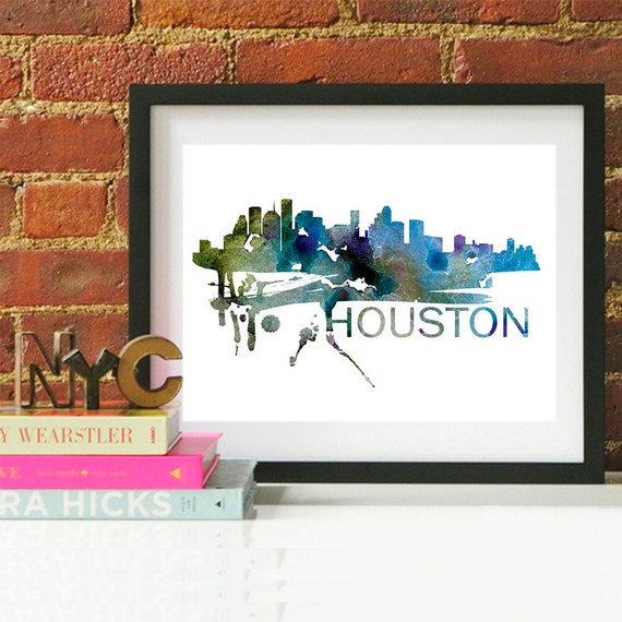 Houston Watercolor Skyline, Houston Skyline, Houston Art, Houston Poster, Houston Print, Houston Art, Houston Map, Houston Wall Art, Texas
