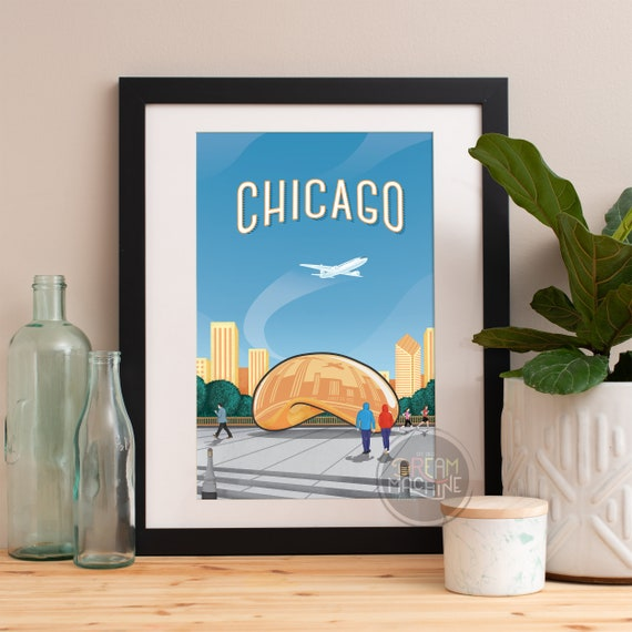 Chicago Print, Chicago Skyline, Chicago Art, Chicago Poster, Chicago Watercolor, Chicago Art, Chicago Map, Chicago Wall Art, Illinois Art