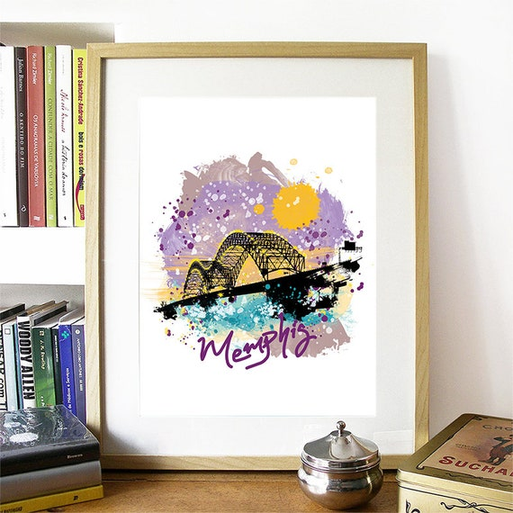 Memphis Print, Memphis Skyline, Memphis Art, Memphis Poster, Memphis Watercolor, Memphis Art Print, Memphis Map, Memphis Wall Art
