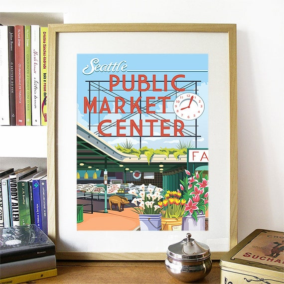 Seattle Print, Pikes Place Market, Seattle Art, Seattle Poster, Seattle Watercolor, Seattle Art Print, Seattle Map, Seattle Wall Art