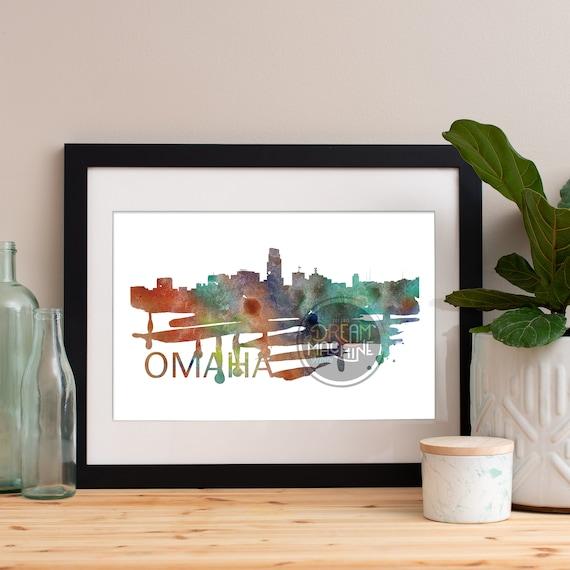 Omaha Watercolor Skyline, Omaha Skyline, Omaha Art, Omaha Poster, Omaha Print, Omaha Art, Omaha Map, Omaha Wall Art, Nebraska Art