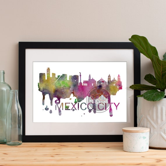 Mexico City Watercolor Skyline, Mexico City Skyline, Mexico City Art, Mexico City Poster, Mexico City Print, Mexico City Art, Mexico City