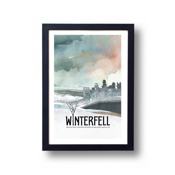 Game of Thrones Poster, Winterfell Travel Poster, Game of Thrones Gift, Game of Thrones Art, House Stark Art, Winterfell Art, Winterfell