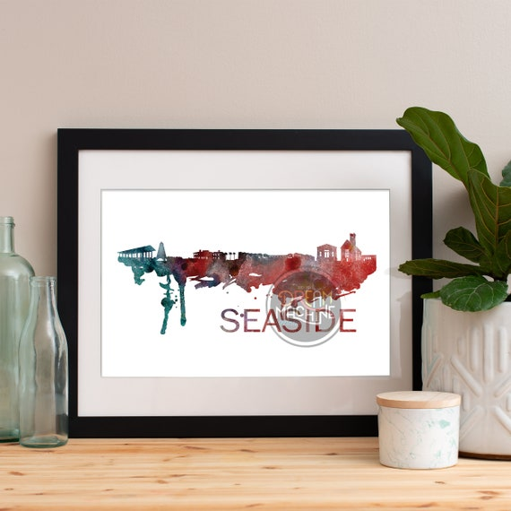 Seaside Watercolor Skyline, Seaside Skyline, Seaside Art, Seaside Poster, Seaside Print, Seaside Art, Seaside Map, Seaside Wall Art,