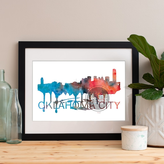 Oklahoma City Watercolor Skyline, Oklahoma City Skyline, Oklahoma City Art, Oklahoma City Poster, Oklahoma City Print, Oklahoma City Art