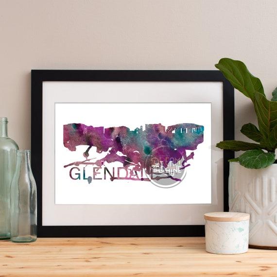 Glendale Watercolor Skyline, Glendale Skyline, Glendale Art, Glendale Poster, Glendale Print, Glendale Art, Glendale Map, Glendale Wall Art