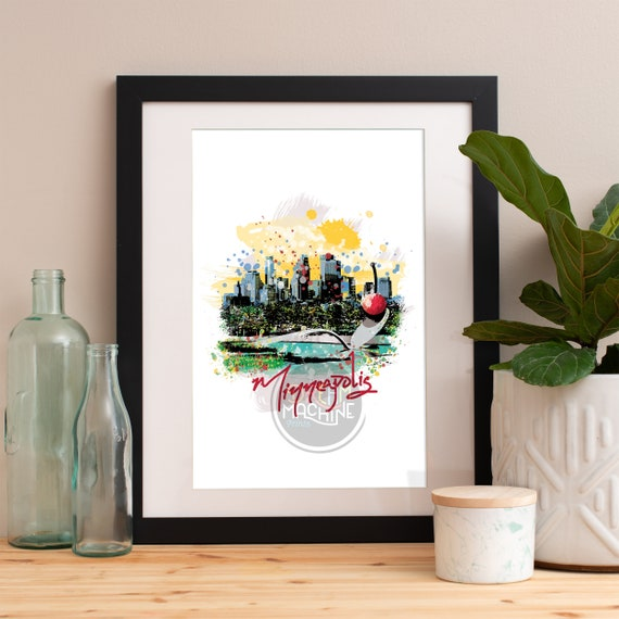 Minneapolis Print, Minneapolis Skyline, Minneapolis Art, Minneapolis Poster, Minneapolis Watercolor, Minneapolis Art Print, Minneapolis Map