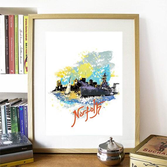 Norfolk Print, Norfolk Skyline, Norfolk Art, Norfolk Poster, Norfolk Watercolor, Norfolk Art Print, Norfolk Map, Norfolk Wall Art