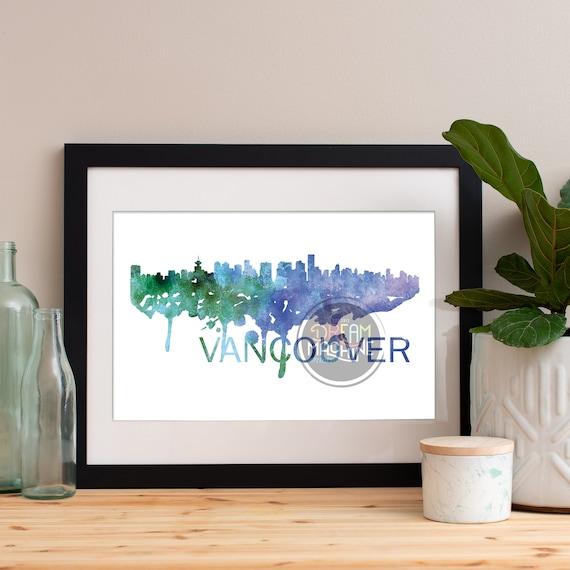 Vancouver Watercolor Skyline, Vancouver Skyline, Vancouver Art, Vancouver Poster, Vancouver Print, Vancouver Art, Vancouver Map, Vancouver