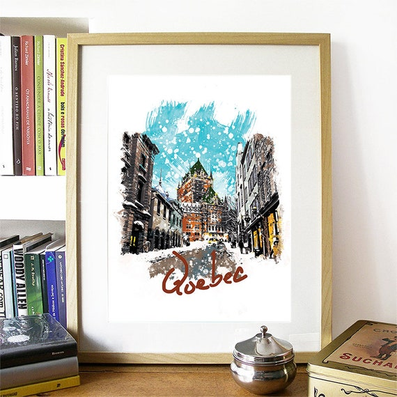 Quebec Print, Quebec Skyline, Quebec Art, Quebec Poster, Quebec Watercolor, Quebec Art Print, Quebec Map, Quebec Wall Art