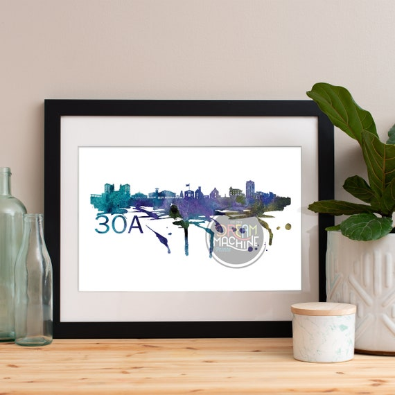 30A Watercolor Skyline, 30A Skyline, 30A Art, 30A Poster, 30A Print, 30A Art, 30A Map, 30A Wall Art, beach art, 30A beach art
