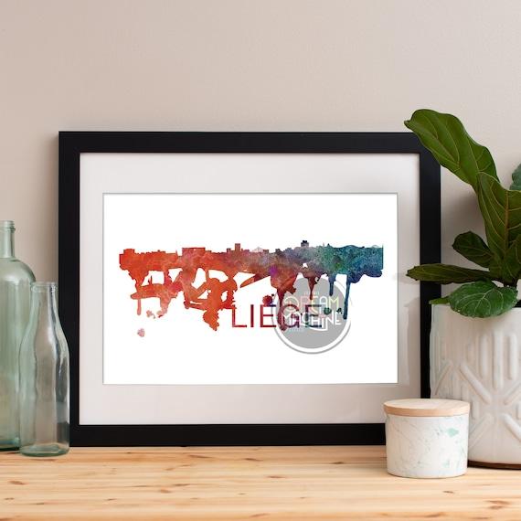 Liege Watercolor Skyline, Liege Skyline, Liege Art, Liege Poster, Liege Print, Liege Art, Liege Map, Liege Wall Art, Belgium Art