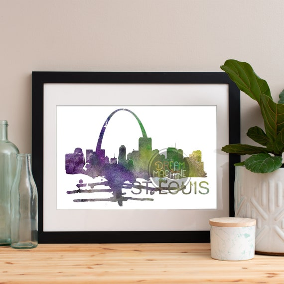 St Louis Watercolor Skyline, St Louis Skyline, St Louis Art, St Louis Poster, St Louis Print, St Louis Art, St Louis Map, St Louis Wall Art