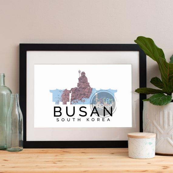 Busan Print, Busan Skyline, Busan Art, Busan Poster, Busan Watercolor, Busan Art Print, Busan Map, Busan Wall Art