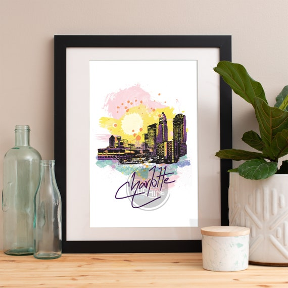 Charlotte Print, Charlotte Skyline, Charlotte Art, Charlotte Poster, Charlotte Watercolor, Charlotte Art Print, Charlotte Map, Charlotte Art