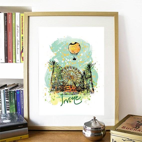 Irvine Print, Irvine Skyline, Irvine Art, Irvine Poster, Irvine Watercolor, Irvine Art Print, Irvine Map, Irvine Wall Art, Irvine California