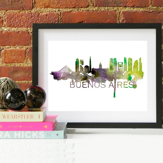 Buenos Aires Watercolor Skyline, Buenos Aires Skyline, Buenos Aires Art, Buenos Aires Poster, Buenos Aires Print, Buenos Aires Argentina