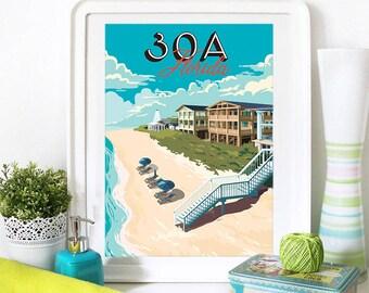 30A Print, 30A Skyline, 30A Art, 30A Poster, 30A Watercolor, 30A Art Print, 30A Map, 30A Wall Art, Seaside Florida, Rosemary, Watercolor