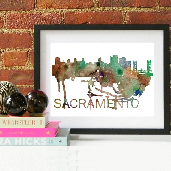 Sacramento Watercolor Skyline, Sacramento Skyline, Sacramento Art, Sacramento Poster, Sacramento Print, Sacramento Art, Sacramento Map