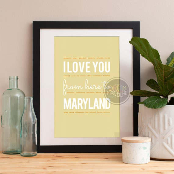 I love you from here to Maryland, Maryland Print, Maryland Skyline, Maryland Art, Maryland Poster, Maryland Watercolor, Maryland Art Print