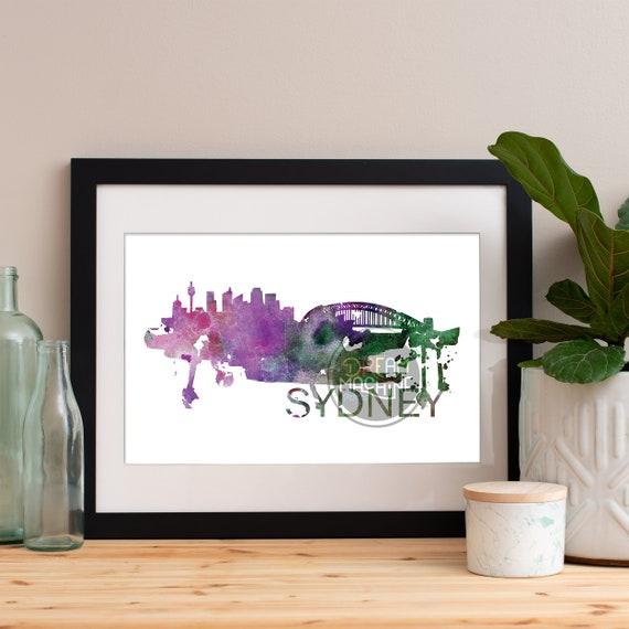 Sydney Watercolor Skyline, Sydney Skyline, Sydney Art, Sydney Poster, Sydney Print, Sydney Art, Sydney Map, Sydney Wall Art, Australia Art