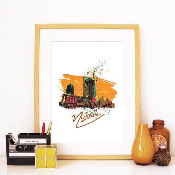 Nashville Print, Nashville Skyline, Nashville Art, Nashville Poster, Nashville Watercolor, Nashville Art Print, Nashville Map, Nashville Art
