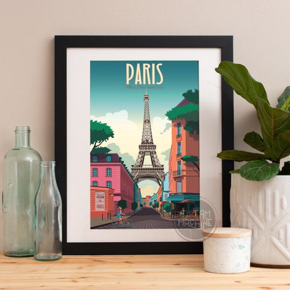 Paris Print, Paris Skyline, Paris Art, Paris Poster, Paris Watercolor, Paris Art, Paris Map, Paris Wall Art, France Art