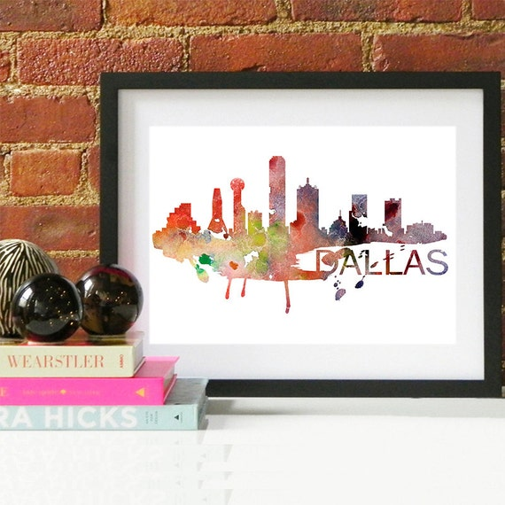 Dallas Watercolor Skyline, Dallas Skyline, Dallas Art, Dallas Poster, Dallas Print, Dallas Art, Dallas Map, Dallas Wall Art, Texas Art