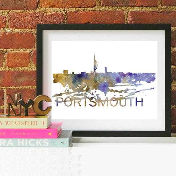 Portsmouth Watercolor Skyline, Portsmouth Skyline, Portsmouth Art, Portsmouth Poster, Portsmouth Print, Portsmouth Art, Portsmouth Map