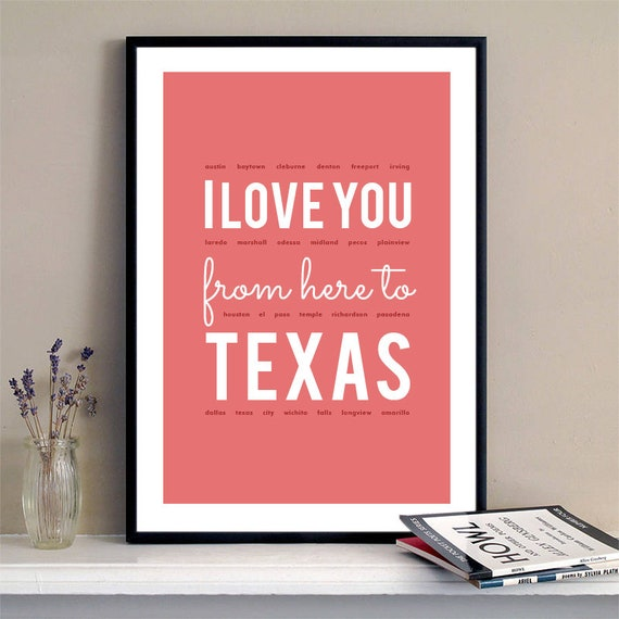 I love you from here to Texas, Texas Print, Texas Skyline, Texas Art, Texas Poster, Texas Watercolor, Texas Art Print