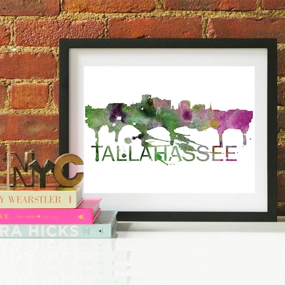 Tallahassee Watercolor Skyline, Tallahassee Skyline, Tallahassee Art, Tallahassee Poster, Tallahassee Print, Tallahassee Art, Tallahassee