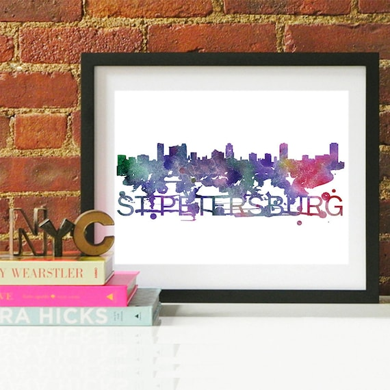 Saint Petersburg Watercolor Skyline, Saint Petersburg Skyline, Saint Petersburg Art, Saint Petersburg Poster, Saint Petersburg Print