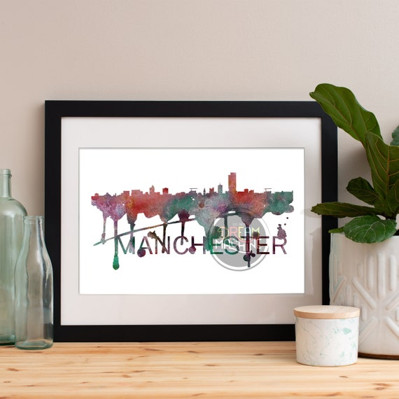 Manchester Watercolor Skyline, Manchester Skyline, Manchester Art, Manchester Poster, Manchester Print, Manchester Art, Manchester Map