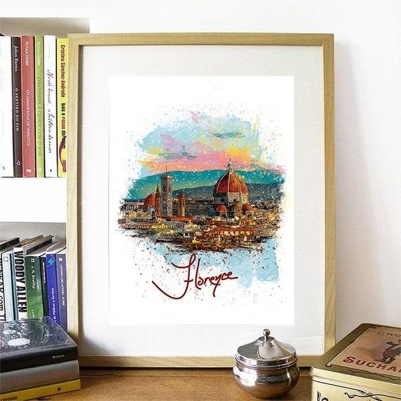 Florence Print, Florence Skyline, Florence Art, Florence Poster, Florence Watercolor, Florence Art Print, Florence Map, Florence Wall Art