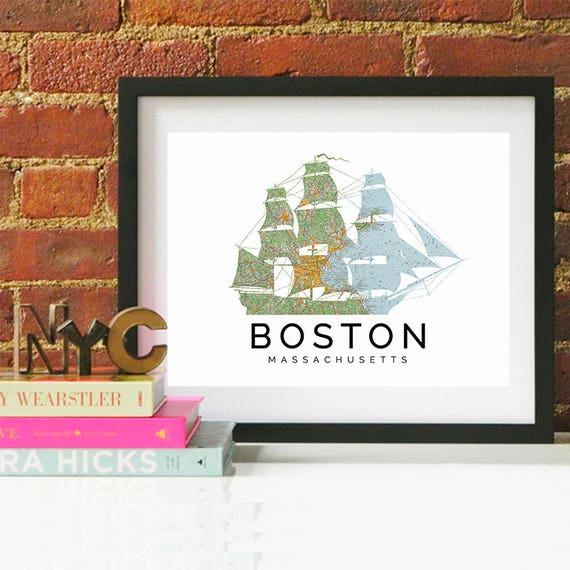 Boston Print, Boston Skyline, Boston Art, Boston Poster, Boston Watercolor, Boston Art Print, Boston Map, Boston Wall Art, Massachusetts Art