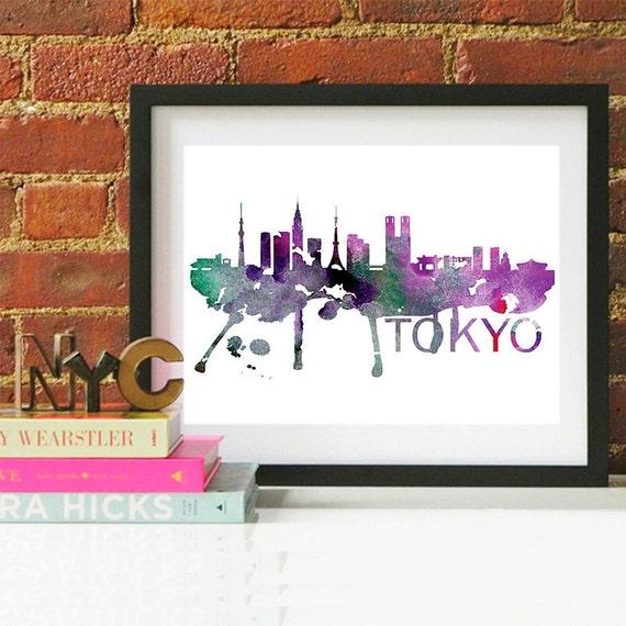 Tokyo Watercolor Skyline, Tokyo Skyline, Tokyo Art, Tokyo Poster, Tokyo Print, Tokyo Art, Tokyo Map, Tokyo Wall Art, Japan Art