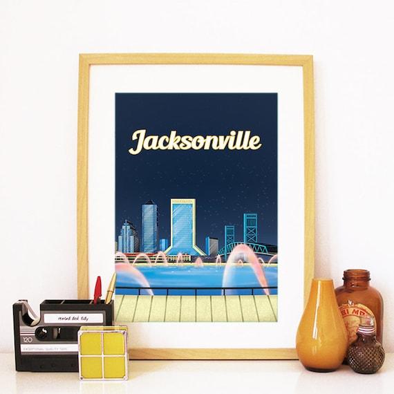 Jacksonville Print, Jacksonville Skyline, Jacksonville Art, Jacksonville Poster, Jacksonville Watercolor, Jacksonville Art, Jacksonville