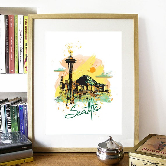 Seattle Print, Seattle Skyline, Seattle Art, Seattle Poster, Seattle Watercolor, Seattle Art Print, Seattle Map, Seattle Wall Art