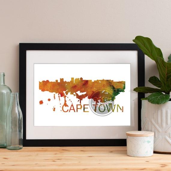 Cape Town Watercolor Skyline, Cape Town Skyline, Cape Town Art, Cape Town Poster, Cape Town Print, Cape Town Art, Cape Town Map, Cape Town