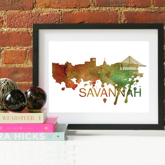 Savannah Watercolor Skyline, Savannah Skyline, Savannah Art, Savannah Poster, Savannah Print, Savannah Art, Savannah Map, Savannah Wall Art