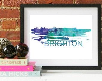 Brighton Watercolor Skyline, Brighton Skyline, Brighton Art, Brighton Poster, Brighton Print, Brighton Art, Brighton Map, Brighton Wall Art