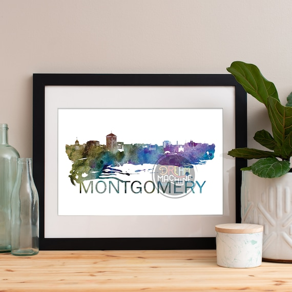Montgomery Watercolor Skyline, Montgomery Watercolor Skyline, Montgomery Watercolor Art, Montgomery Watercolor Poster, Montgomery Print