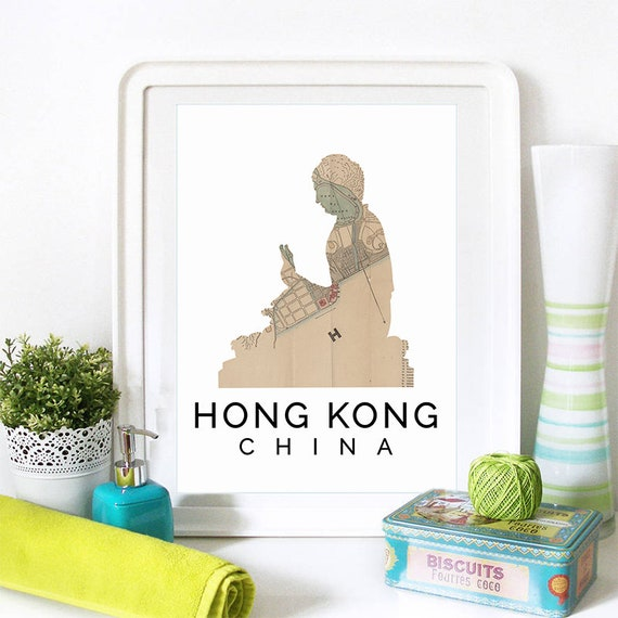 Hong Kong Print, Hong Kong Skyline, Hong Kong Art, Hong Kong Poster, Hong Kong Watercolor, Hong Kong Art Print, Hong Kong Map, Hong Kong Art