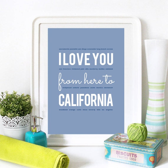 I love you from here to California, California Print, California Skyline, California Art, California Poster, California Watercolor